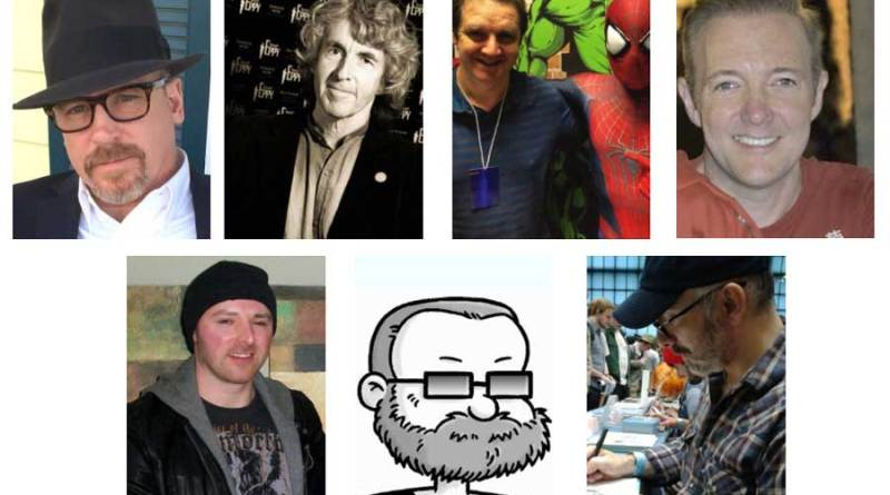 Blackpool Comic Con's comics guests - Ande Parks, Tim Quinn, Lee Townsend, John Royle, Lee Bradley, Tim Quinn and Nick Brokenshire.