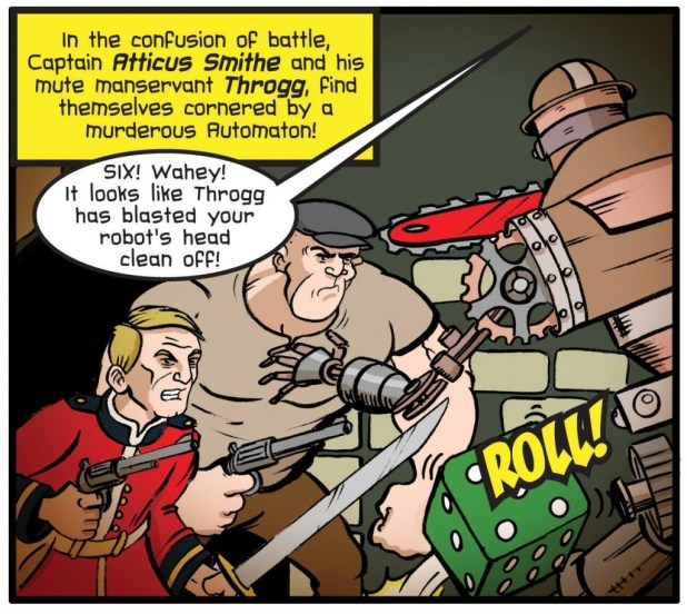 A panel from Steve's regular comic for Wargames, Soldiers & Strategy magazine, for an issue published earlier this year with a steampunk theme