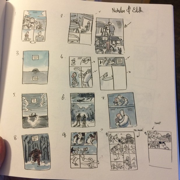 Some of Dan's planning work for his 2014 24 Hour comic for the Lakes Festival.