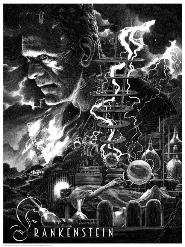Frankenstein print by Nicolas Delort. Image courtesy Dark Hall Mansion