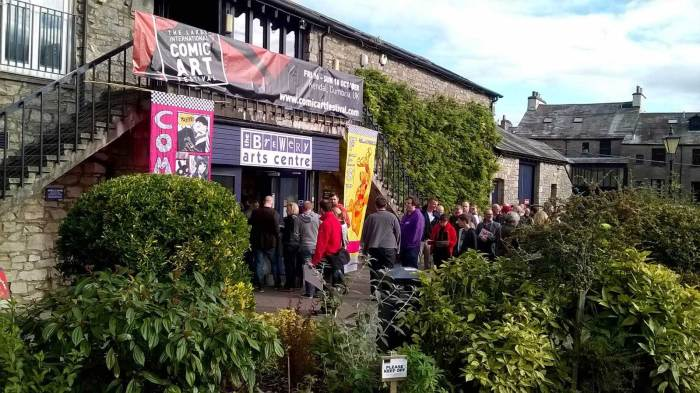 Comics fans wait patiently for events to start at the Brewery Arts Centre. Photo courtesy Lakes International Comic Art Festival