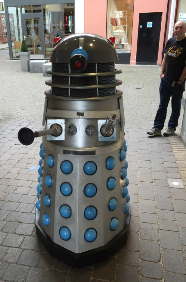 A year late for the Doctor Who events of the 2014 Festival, an angry Dalek stalks the streets of Kendal hunting down and Doctor Who fans. Photo: John Freeman
