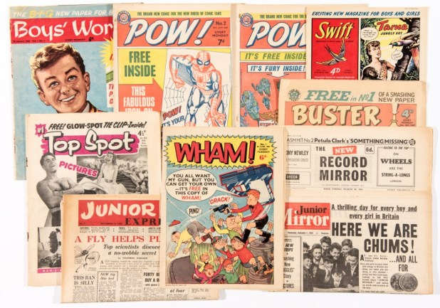 Various 1950s and 1960s first issues of British comics offered in the 2015 Compalcomics auction. Included in the lot: Boy's World Number 1 (interior page competition cut-out), Buster 1, Junior Express 1, Junior Mirror 1, New Record Mirror 1, POW! 2, 3, Swift 1 (trimmed), Top Spot 1, and WHAM! 1 (with Leo Baxendale's 'The Wacks' introducing newcomers, The Rolling Stones!)