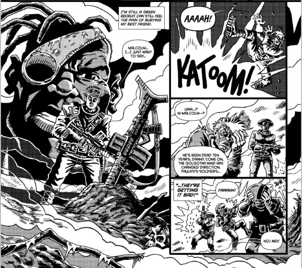 """Cracking """"Bad Company"""" art from Rufus Dayglo in 2000AD Prog 1955."""