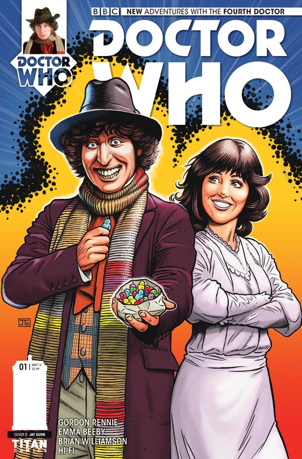 "Doctor Who: The Fourth Doctor #1 - Cover D by Jay Gunn. ""I wanted to homage the old Weetabix and Target books stylized colorful art style for this,"" he says."