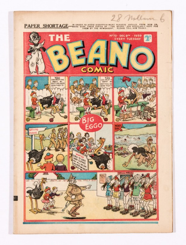 A wartime Beano cautions on the paper shortage and urges readers to ensure they order their copy of the comic.
