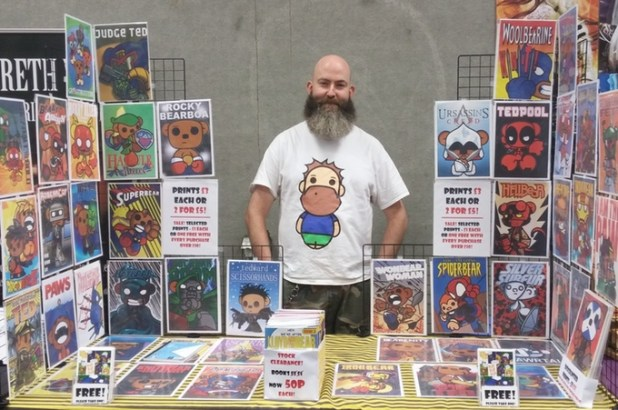Gibson Gret has already published 14 issues of Lloyd and the Bear and seems to have a good handle on the perils and pitfalls of self publishing. Here he is at Nottingham Comic Con earlier this year. Photo via Gibson Grey.