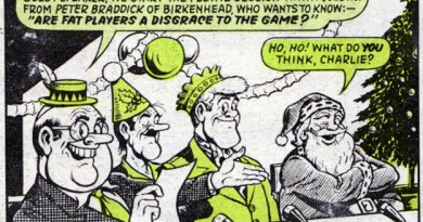 """A panel from """"Football Forum"""" drawn by Ken Reid, published in Scorcher, Christmas 1970"""