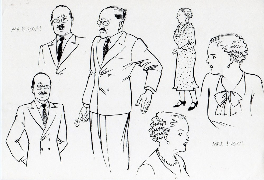 William's parents, Mr and Mrs Brown. Art: Maureen and Gordon Gray