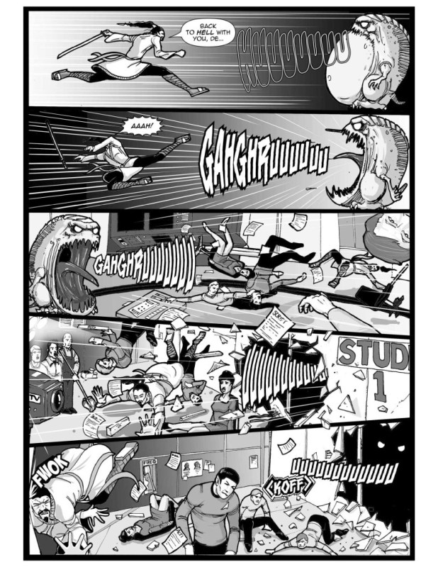 """Great fun in """"jikan"""", written by Mark Howard and A. Wallace, drawn by Alex Mines, lettered by Ken Reynolds"""