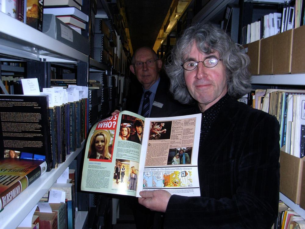 Way below Liverpool University is the Science Fiction Archive, which includes the archive of John Wyndham's work, including original manuscripts, and hundreds of thousands of neatly filed publications from the last few centuries. Jules Verne, HG Wells, Michael Moorcock - every big name in the Science Fiction field. Pictured here are Tim Quinn (with a copy of Doctor Who Magazine his work featured in) with curator Andy Sawyer. Photo courtesy Tim Quinn