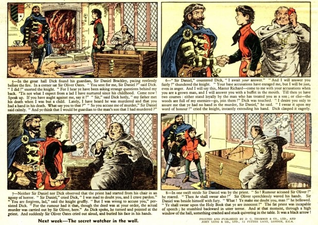 An adaptation of the Robert Louis Stevenson's novel The Black Arrow drawn by Ron Smith for The Topper, published in 1956. Art © DC Thomson