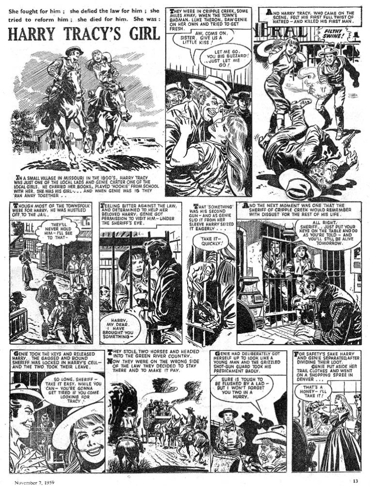 "For all its fascination with the female form, some of Top Spot's stories featured strong female characters, such as this tale, ""Harry Tracy's Girl"". Art by Gino D'Antonio."