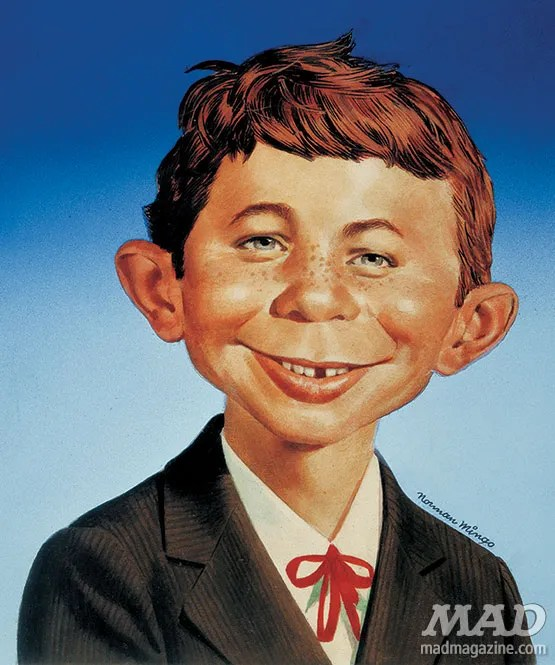MAD Magazine's Alfred E. Neuman by Norman Mingo. Image © E.C. Publications, Inc.