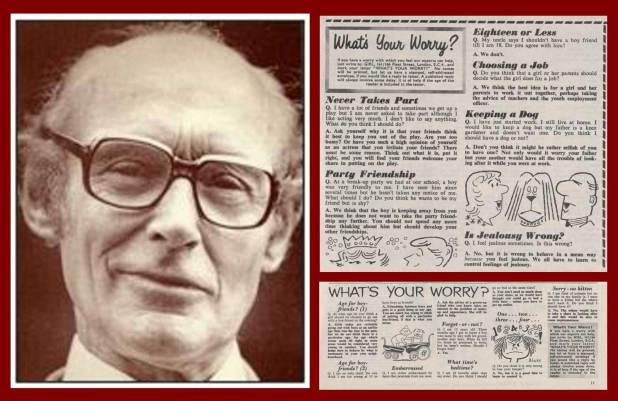 "Doctor James Hemming and examples of the ""What's Your Worry"" problem pages that featured in Girl, with artwork by Brian Blake"