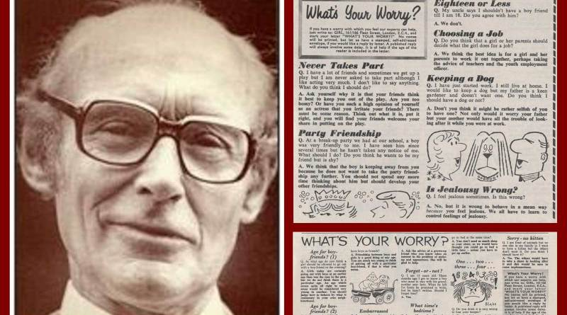 """Doctor James Hemming and examples of the """"What's Your Worry"""" problem pages that featured in Girl, with artwork by Brian Blake"""