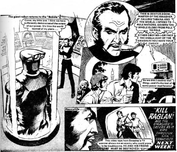 "The cliffhanger to episode one of ""The Smasher"" from Bullet Issue One, drawn by Ian Kennedy"