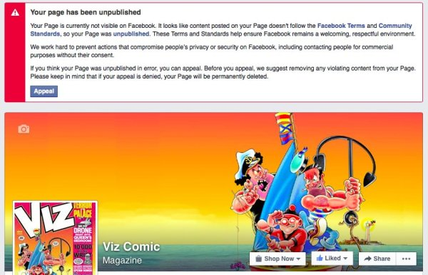 The official VIZ Facebook page has been suspended.