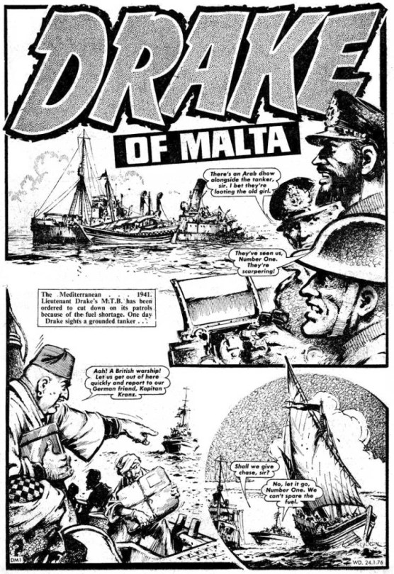"A page from ""Drake of Malta"" in the issue of Warlord cover date 24th January 1976."