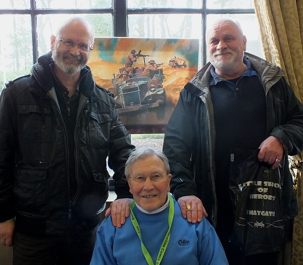 Former Commando editors Calum Laird and George Low flank current Commando artist Ian Kennedy at the Dunfermline Comic Con in 2016