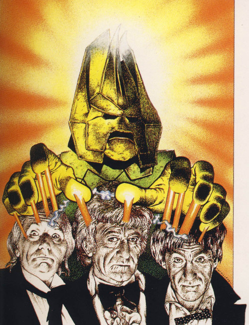 Chris Achilleos' art for The Three Doctors novelisation