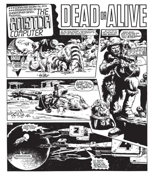 """The Amstor Computer - Dead or Alive"", written by Ian Mennell, art by Cam Kennedy"
