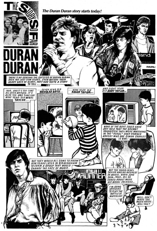 "A page from one of Steve's early strips for Look-In - ""Duran Duran - The Story So Far"""