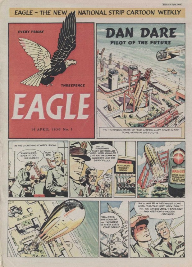 The cover of the first issue of Eagle, cover dated 14th April 1950.