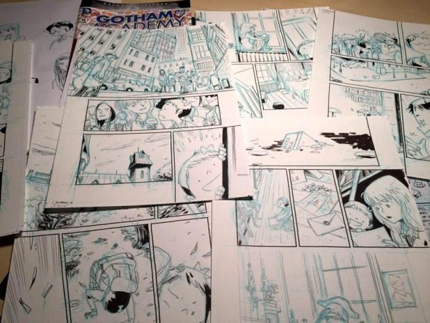 "Work in progress for the Gotham Academy story ""Boring Sundays"" by Ken Niimura"