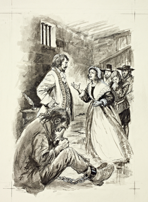 "One of Shirley's drawings for ""The Unremembered Inn"". Author Max Harris tells me this depicts an actual event from real life – in the prison in Gloucester Castle on 16th June 1677. Mary Ellery is pleading to save the life of her husband William, imprisoned for debt. ""I gave Shirley just a brief description of the events which took place in the prison cell on that day,"" says Max, ""and was absolutely astounded at how accurately she interpreted the scene in William Ellery's cell (including the rat!). ""She was a most remarkable and gifted artist and it was a great privilege to have met her."""
