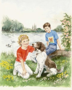 Children and Spaniel by Shirley Bellwood
