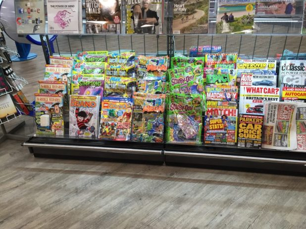 Comics on sale in Booths, Poulton-le-Fylde. Even the smaller range gets better treatment than it does in some WH Smiths