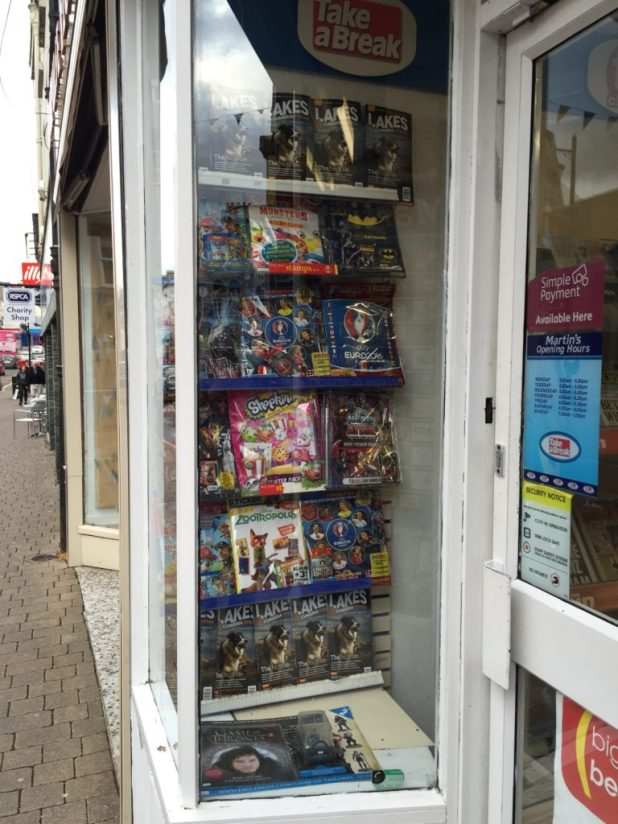 Martins, Kendal. Comics promoted in the window - as you'd perhaps expect for a 'Comics Town'. This picture was taken recently, well outside its Festival week.
