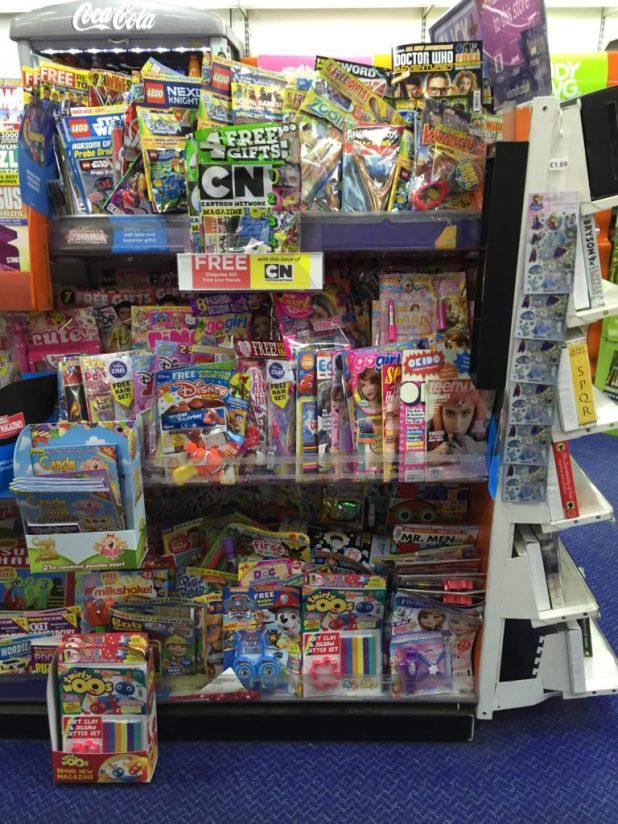 The children's comic shelves in WHSmith Lancaster on Friday 29th April 2016. Photo: John Freeman