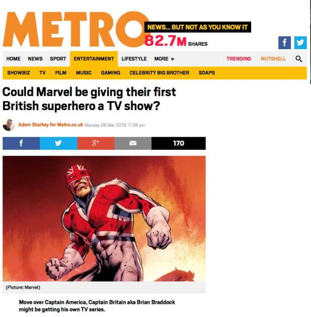 Metro covers the possible Captain Britain series
