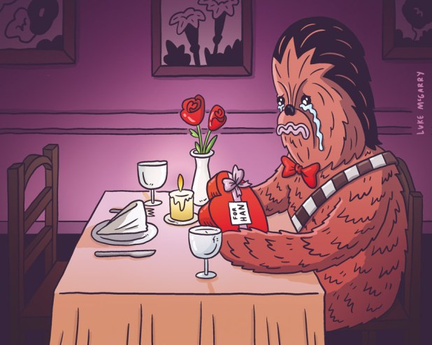 "One of Luke McGarry's viral ""Sad Chewie"" cartoons"