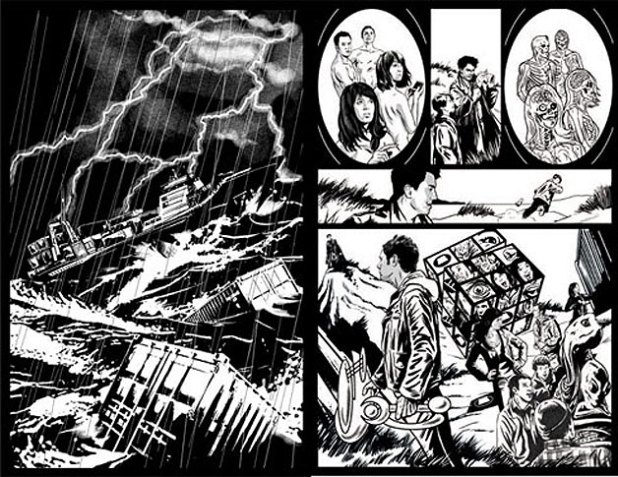 "Art from the previously published Torchwood comic story ""Jetsam"", written and drawn by Brian Williamson, who is currently drawing Titan's Fourth Doctor mini series"