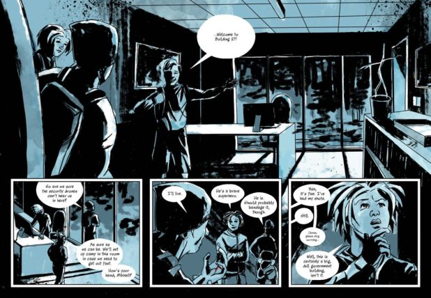 A page from Martin Stiff's new comic, Building 27