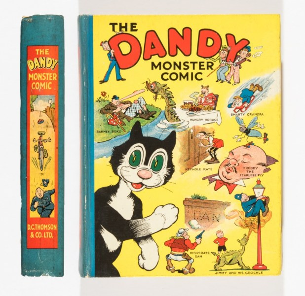 Dandy Monster Comic 1 (1939). Korky introduces Desperate Dan, Keyhole Kate and all the Dandy characters. This first annual is a 'library' copy and was kept in D C Thomson's main office in Meadowside, Dundee.