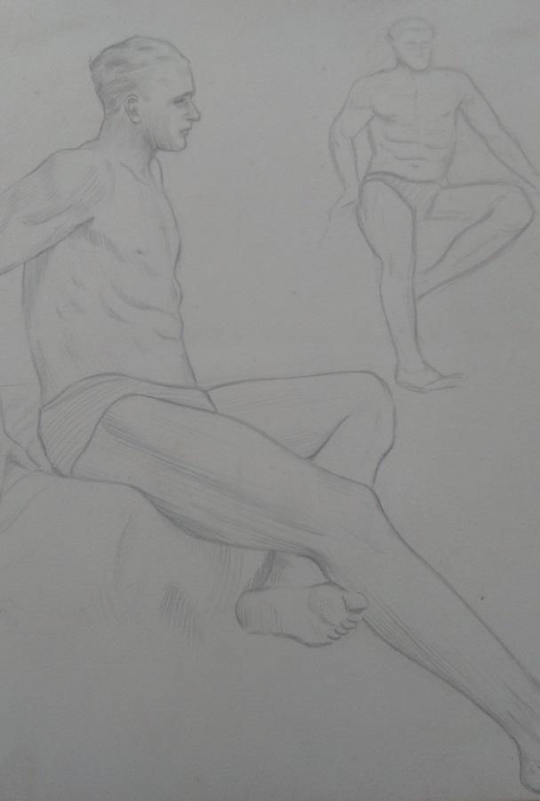 Man At Rest - Pencil Sketch. Art by Gordon Livingstone