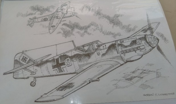 Messerschmit 109 vs Spitfire. Art by Gordon Livingstone