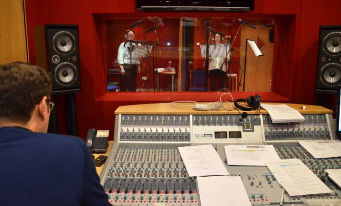 Geoff McGivern and Heida Reed recording a scene in the Dan Dare audio adventure