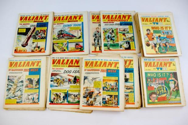Description: Collection of Valiant, Valiant & TV21 Comics 60/70s. Includes 35 early 60s and 30 1970s. Photo: Langley & Jones Specialist Auctions 1970s.