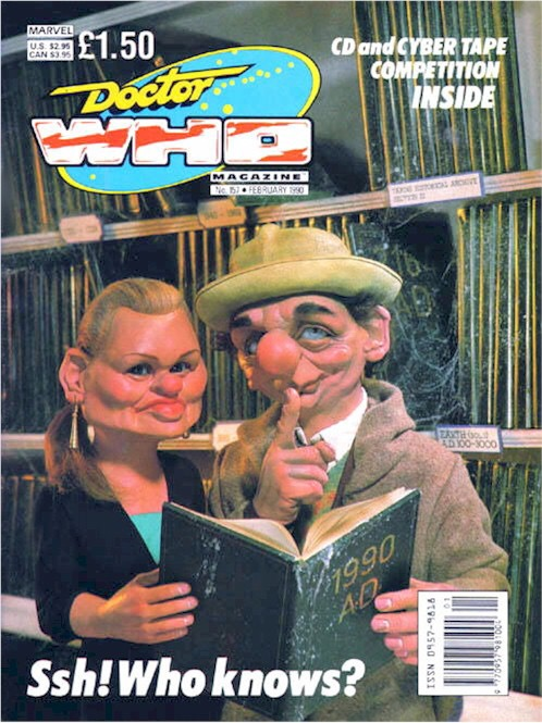 """Doctor Who Magazine Issue 157. Sue Moore and Stephen Mansfield's first """"Spitting Image""""-inpsired cover"""