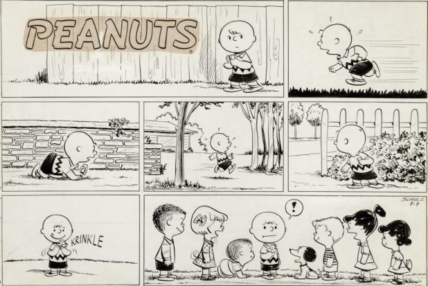 Charles Schulz Peanuts Sunday Comic Strip Charlie Brown and Friends Original Art dated 8-9-53 (United Feature Syndicate, 1953)