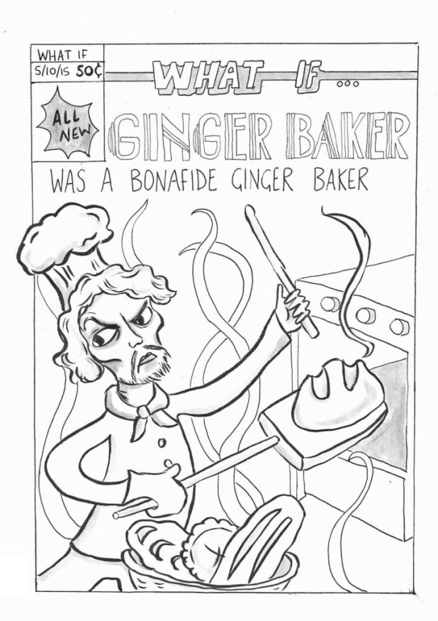 "Just one of Sally Anne-Hickman's Inktober 2015 artworks published online - a What If? comic spoof ""What If Ginger Baker was a Bonafide Ginger Baker?"""