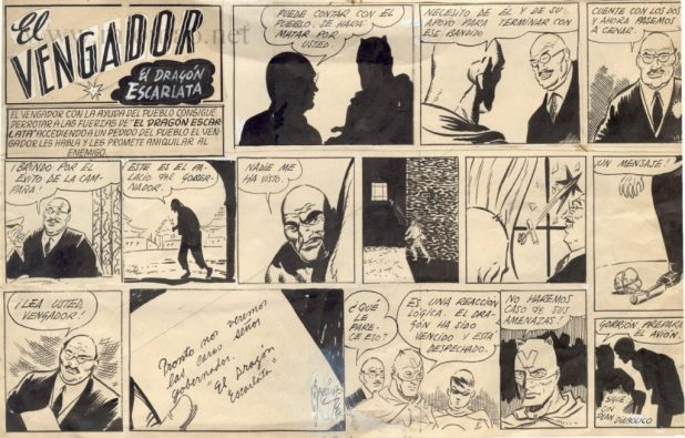 """An episode of """"El Vengador"""" for El Gorion, published in 1939, drawn by Alberto Breccia"""
