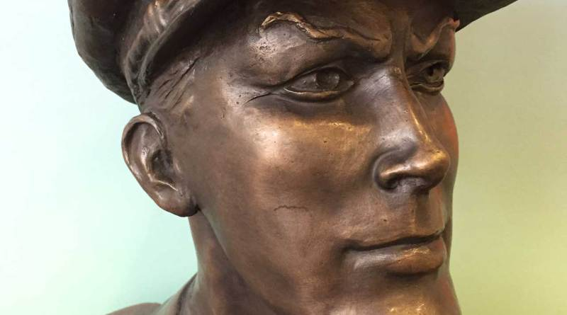 The Dan Dare bust created by John Fowler for the character's fifitieth anniversary, now at The Atkinson. Photo: Dan Whitehead