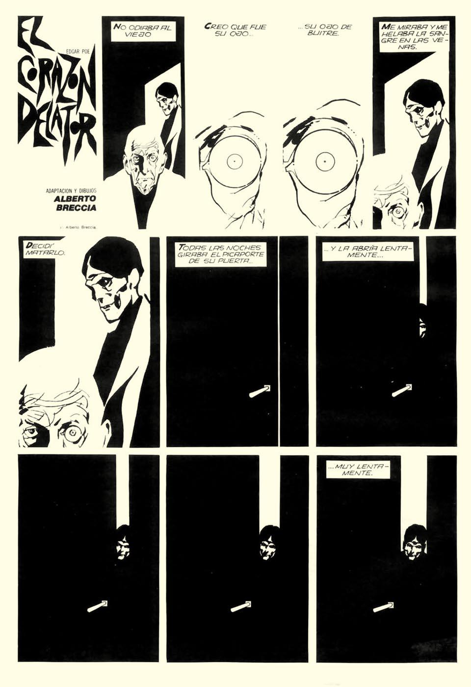 comic creator spotlight the life and work of alberto breccia pages from alberto breccia s distinctive 1977 adaptation of edgar allan poe s story tell tale heart