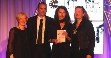 Janice Forsyth, radio presenter, Metaphrog's John Chalmers and Sandra Marrs, and Janice Kirkpatrick, judge and Creative Director of Graven design studio at the Scottish Culture Awards. Photo courtesy Sunday Herald (with thanks to Metaphrog)
